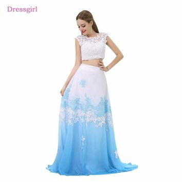 Sky Blue 2018 Prom Dresses A-line Cap Sleeves Chiffon Lace Two Pieces Long Women Prom Gown Evening Dresses Robe De Soiree