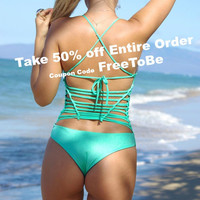 HONOLIIL: Reversible Halter Strappy One Piece Bathing Suit