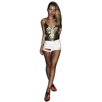 Fashion Women Tops Backless Sexy Lady tops Camis Camisole Sexy Women Sequins Vest Blouse Tank