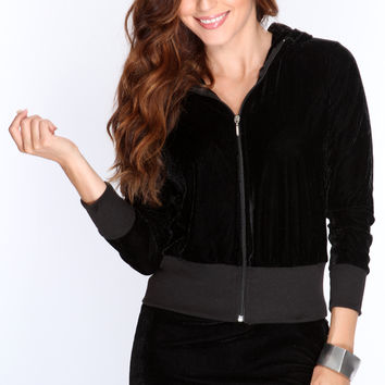 Black Velour Fabric Stylish 2Pc Outfit