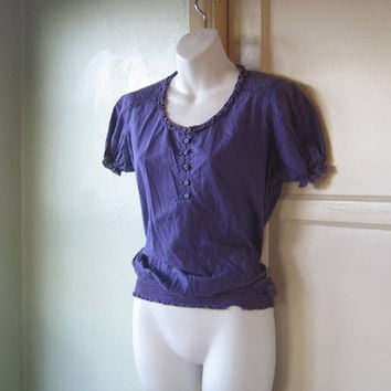 Medium Vintage Purple Peasant Top - Dark Royal Purple Cotton Peasant Top