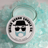 Cotton Candy scented soy candle 4oz mason jar hand poured soy wax Weird Beard Candle Co Say My Name Breaking Bad Heisenberg fathers day gift