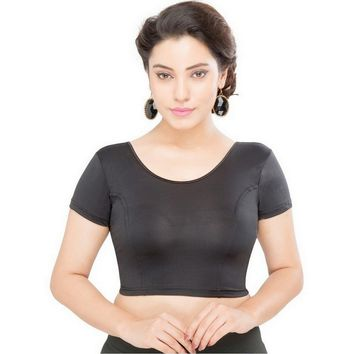Saris and Things Black Strech Lycra Stretchable Saree Blouse Crop Top A-10-black