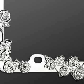Rose Chrome License Plate Frame
