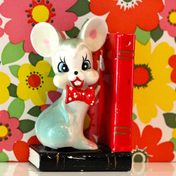 Vintage Kitsch 1950's Mouse Bookend Kawaii Japan