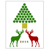 Deer and tree, Instant Download, printable,  red and green decor, Christmas Tree Print, Wall Art, print, wall decor, Posters, 8x10