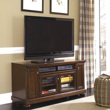 Porter iv collection casual style rustic brown finish wood tv stand