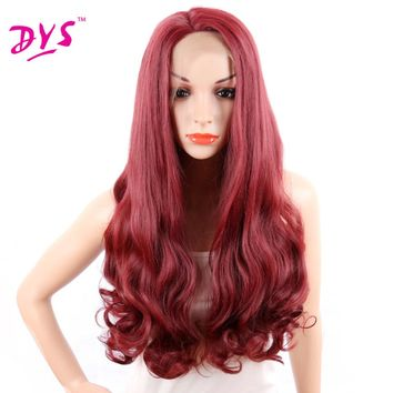 Deyngs Long Body Wave Red Synthetic Lace Front Wigs With Natural Hairline Synthetic Full Wigs Hairstyle African American Women