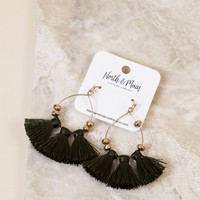 Three Tassle Earring, Olive