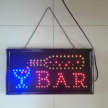 Bar Pub Sign Neon Lights LED Animated Customers Attractive Sign with Hang Chain