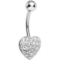 925 Sterling Silver Cubic Zirconia Paved Heart Belly Ring | Body Candy Body Jewelry