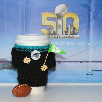Carolina Panthers cozy. Super bowl 50. Panthers shirt. NFL Panthers jersey. Blue black. Travel mug cozy. Football boyfriend gift Sporty gift