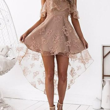 Apricot Spaghetti Strap Lace Ruffle Irregular High-Low Swallowtail Party Sweet Midi Dress