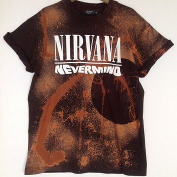 Unique Unisex Acid Wash T-Shirt Black Copper Look - Nirvana Grunge Punk Distressed Nevermind