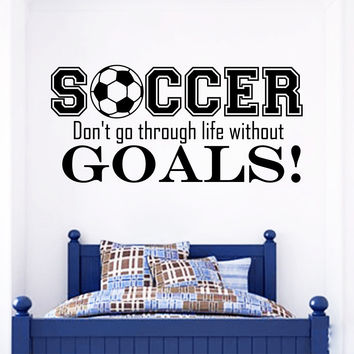 Wall Decal Quote Sports Play Soccer Go Through Life Design Football Vinyl Decals Gym Playroom Nursery Living Room Bedroom Home Decor 3785