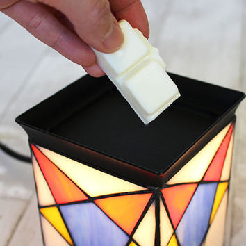 Electric Handmade stained glass candle warmer lamp, wax melter, tart burner, table lamp, desk lamp [ Starlit Moments ]