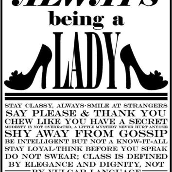 The Rules To Always Being A Lady poster print