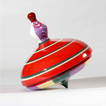 Wooden spinning top - folk dancer. handmade, hand painted toy for children in cotton bag. Perfect gift for baby shower.