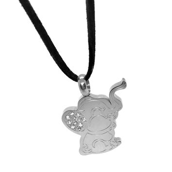 ON SALE - CZ Baby Elephant Stainless Steel Pendant Necklace