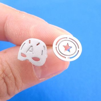 Iconic Captain America Mask Shield Shaped Stud Earrings in Silver | Allergy Free