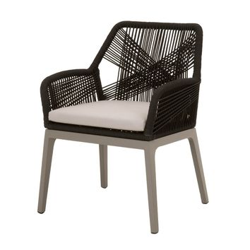 Loom Outdoor Dining Arm Chair (Set of 2) Black Rope, Storm Grey Aluminum, Smoke Grey Seat