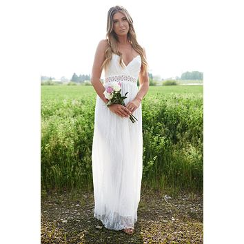 Forever And Always Lace Maxi Dress (White)
