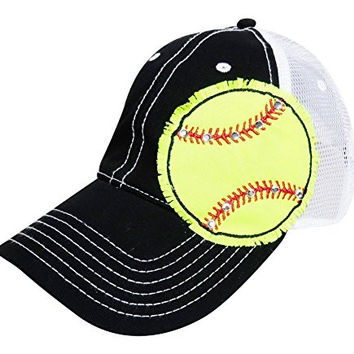 Rhinestone Neon Yellow Softball Baseball Trucker Cap Hat Headwear Sports