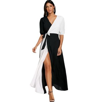 Puff Sleeve Color Block High Slit Maxi Dress