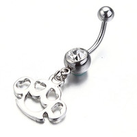 VCMART Cute Silver Dog Footprint Dangle Belly Ring 14G With Clear Crystal