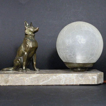 Alsation dog mood lamp, French vintage mood lamp, vintage desk lamp. table lamp. French lighting. Vintage lighting. Dog light