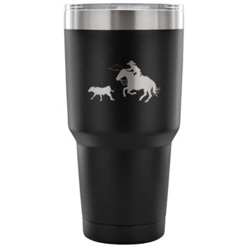 Cowboy In Pursuit  Calf Roping Tumbler
