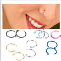 Medical Nostril Titanium Gold Silver Nose Hoop Nose Rings clip on nose ring Body Fake Piercing Piercing Jewelry For Women