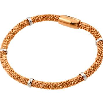 .925 Sterling Silver Rose Gold Plated Thin Beaded Italian Bracelet
