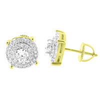 Solitaire Round Earrings Cluster Set Simulated Diamonds Screw Back 14K Yellow Gold Finish