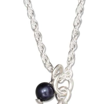 Sterling Silver Jewish Star Of David Pendant Necklace With Dark Blue Swarovski Bead