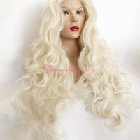 Platinum Blonde SWISS Curly Lace Front Wig 32""