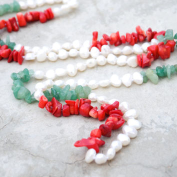 Indochine - Green jade Red coral and freshwater baroque pearl layering necklace Sweater length Asian style jewellery Beach Boho Tropical