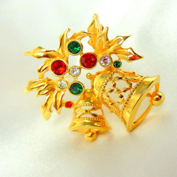 ON SALE Christmas Brooch by AVON Joyous Bell Gold with Green and Red Rhinestones