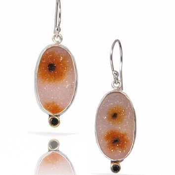 One of a Kind Sunflower Field Drusy, Black Diamond, 18k Gold and Argentium Silver Earrings