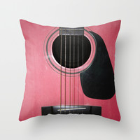 Pink Guitar Throw Pillow by Nicklas Gustafsson