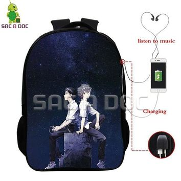 Anime Backpack School kawaii cute EVA Multifunction Backpack Rei Shinji Nagisa School Bags for Teens Men Women USB Charging Headphone Jack Laptop Backpack AT_60_4