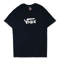 VANS New fashion bust letter print and back human head letter print top t-shirt Black