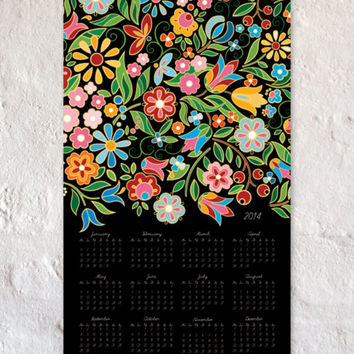 New year present - Flowers wall calendar 2014 -wall decor - 100% recycled paper - digital print