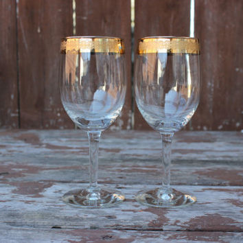Vintage Pair of Two (2) Gold Rimmed Wine Glasses with Etched Imprint