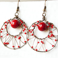 Red Wire Wrapped Bronze Hoops, Boho Earrings