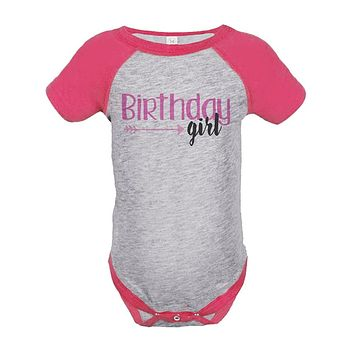 Custom Party Shop Girl's First Birthday Arrows Vintage Baseball Tee Onepiece