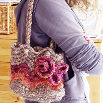 Hand crocheted Boho Wedding bag Freeform style Custom order