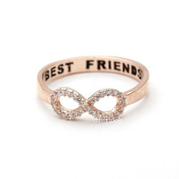 cz infinity ring with engraved best friends, in pinkgold
