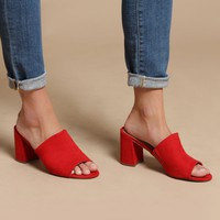 Gala Heeled Mule Sandals - Red