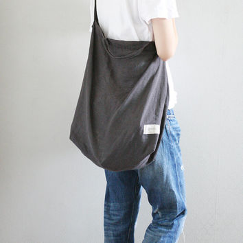 Linen shoulder bag/ Hobo bag / Natural linen beach bag / Fitness bag